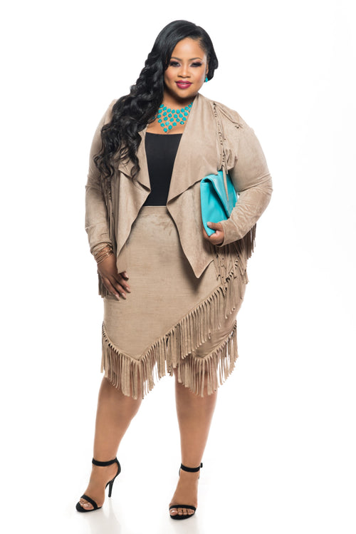 Final Sale Plus Size 2-Piece Faux Suede Jacket and Skirt w/ Fringe Trim in Tan