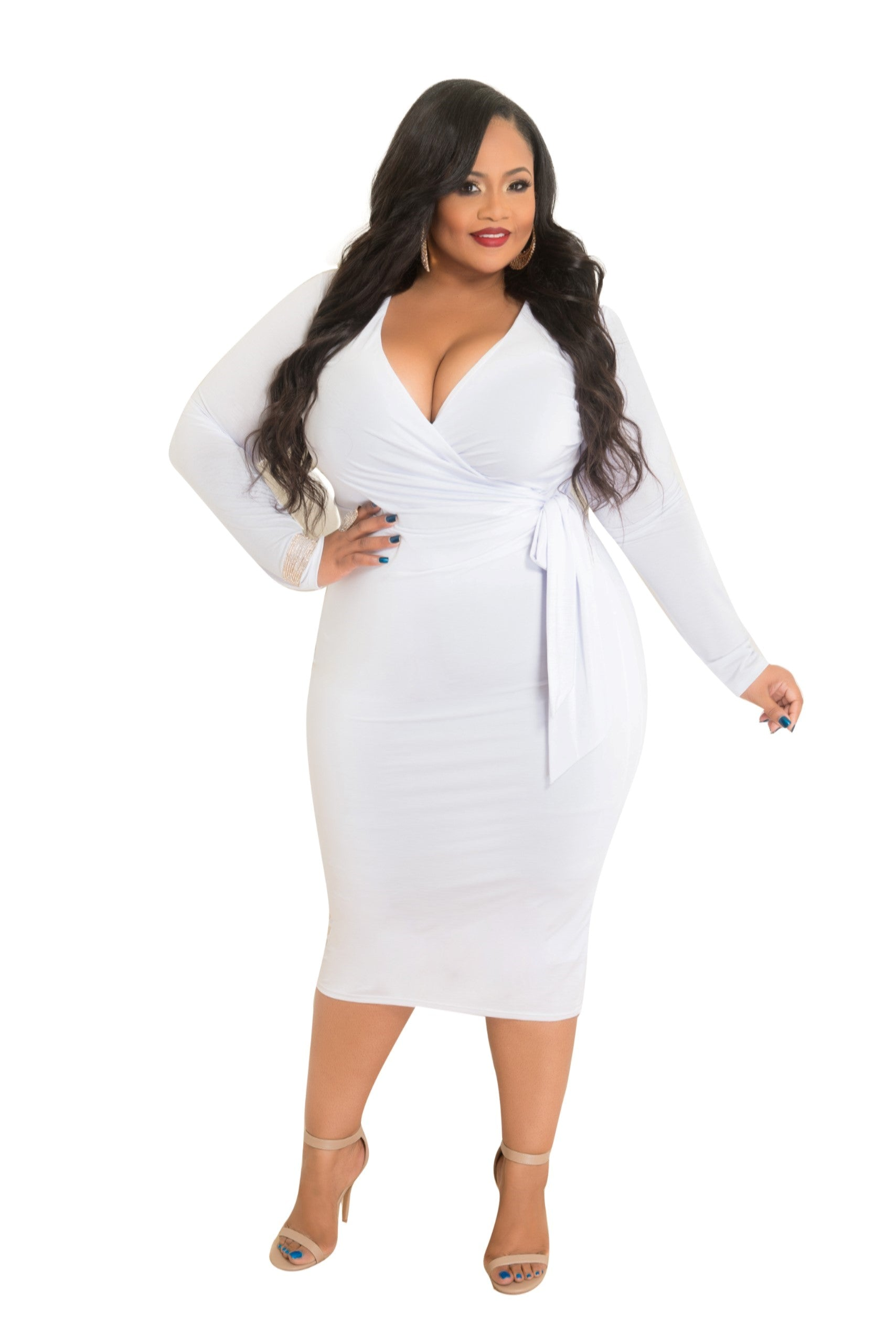 Final Sale Plus Size BodyCon W/Tie Belt in White