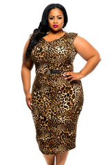 Final Sale Plus Size BodyCon with Attached Faux Belt, Sleeveless in Cheetah Print