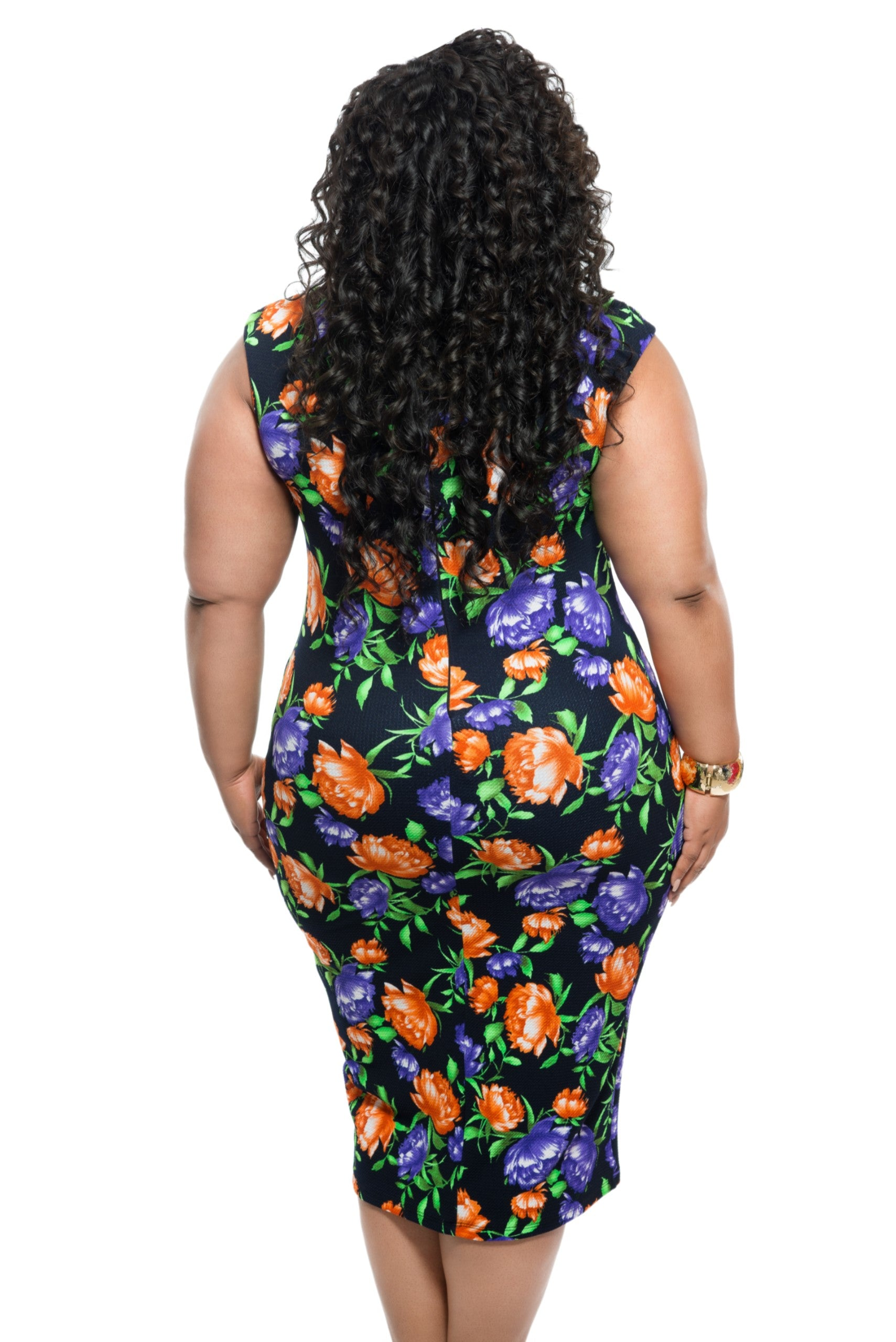 Final Sale Plus Size BodyCon Sleeveless Dress in Black, Purple, and Orange Floral Print