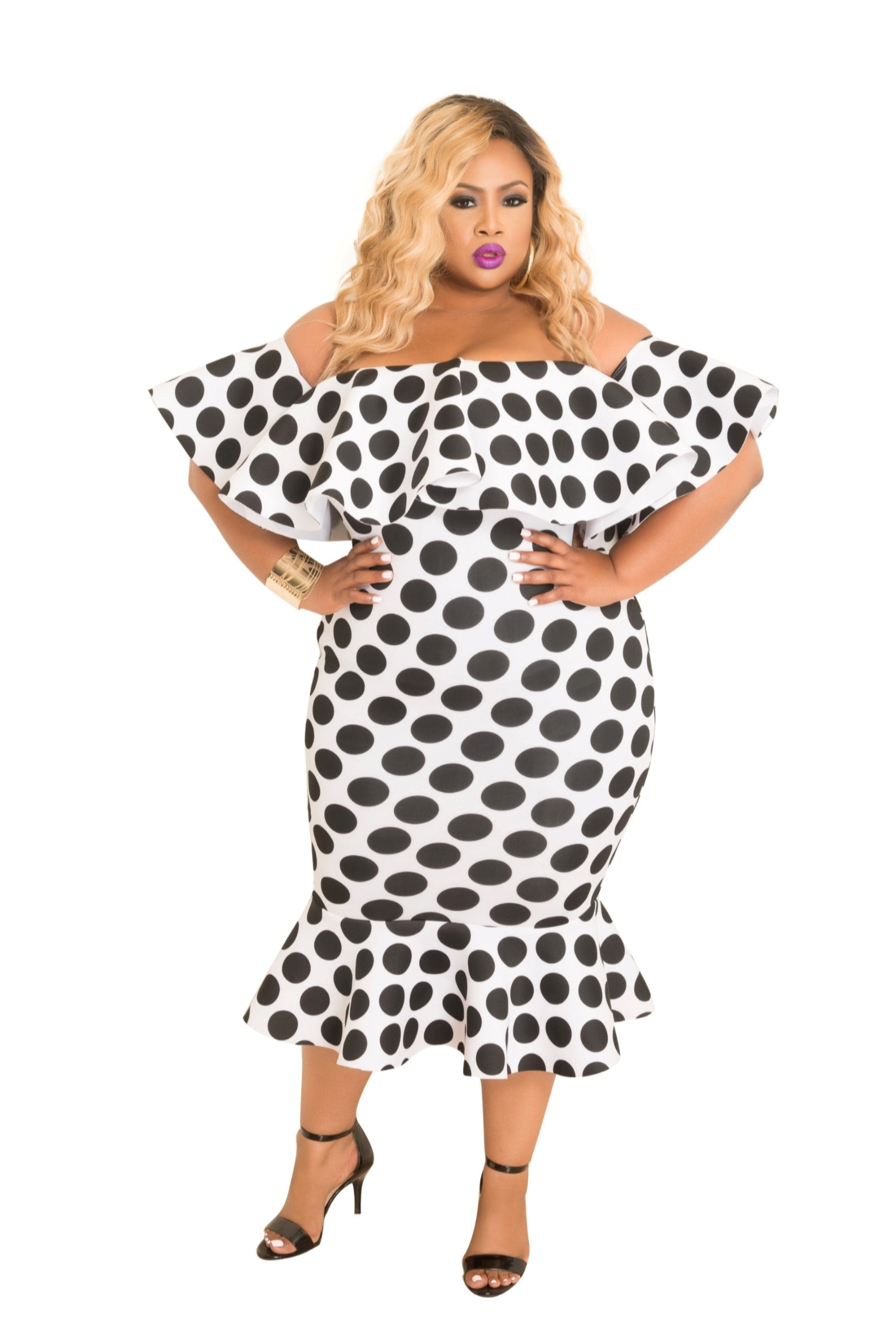 Final Plus Size Off the Shoulder Ruffle BodyCon Dress in White Scuba with Black Polka Dots