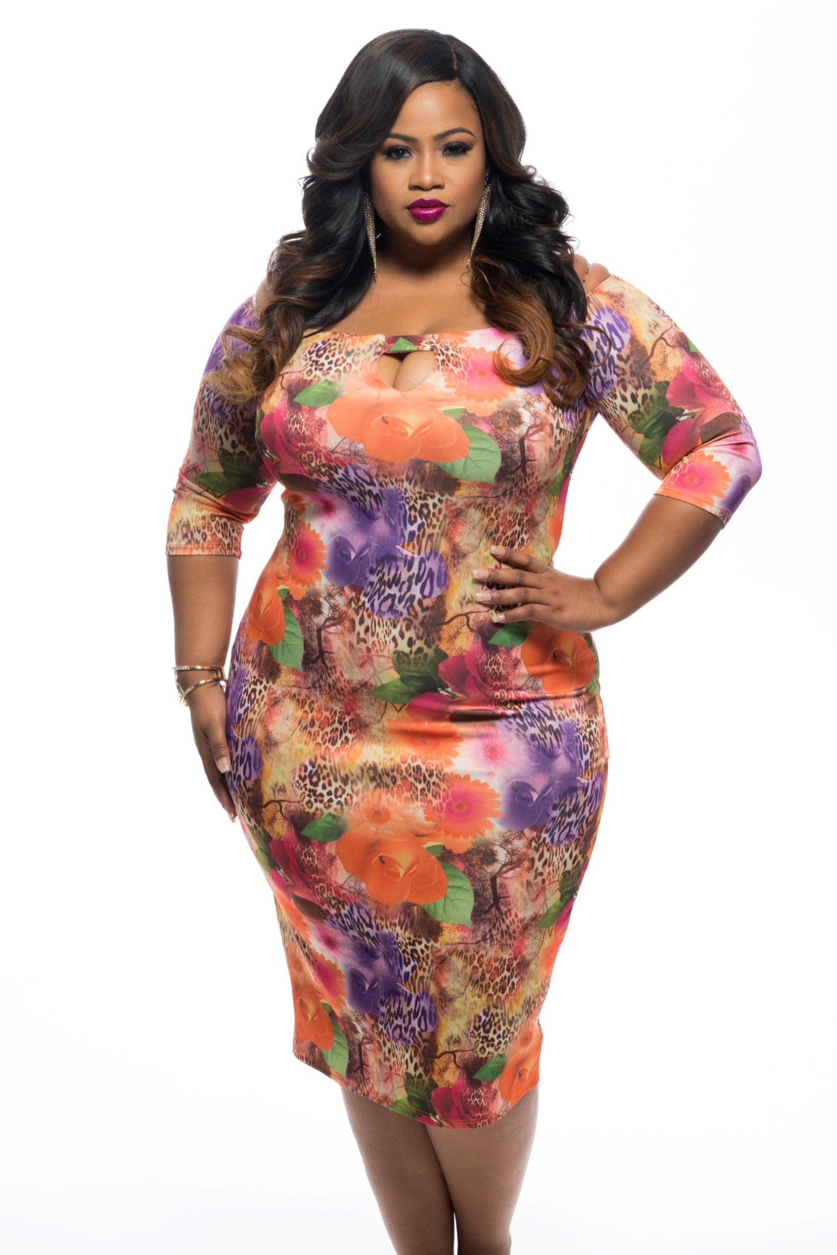 Final Sale Plus Size Off the Shoulder BodyCon in Orange Floral and Animal Print