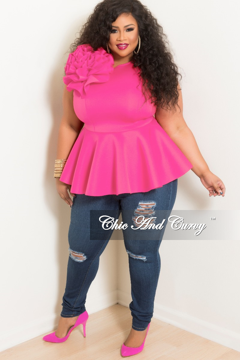New Plus Size Flower Sleeveless Peplum Top in Hot Pink