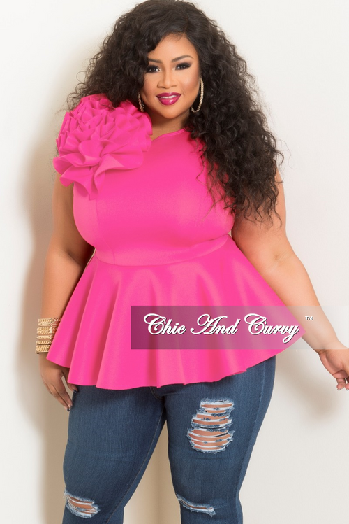 Final Sale Plus Size Flower Sleeveless Peplum Top in Hot Pink