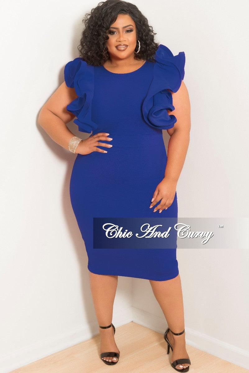 Final Sale Plus Size BodyCon Dress with Ruffles Sleeves and Back ...