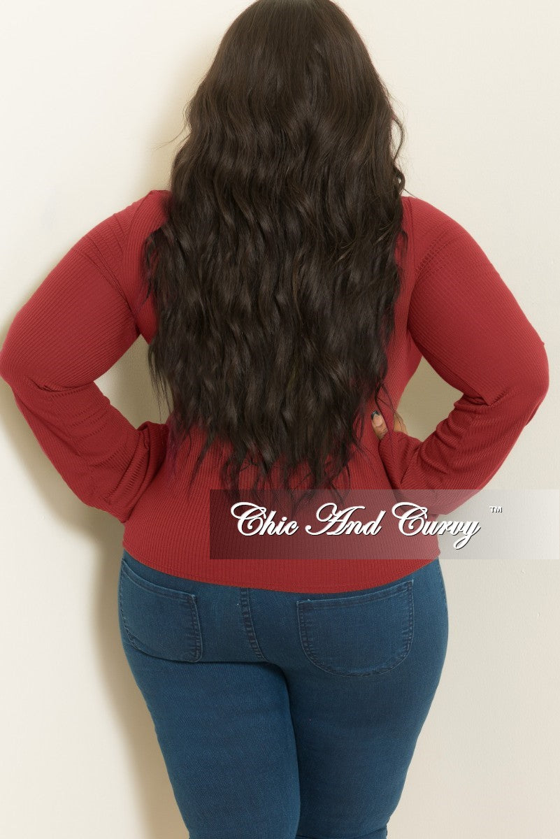 New Plus Size Long Sleeve Top with Front Cutout in Burgundy