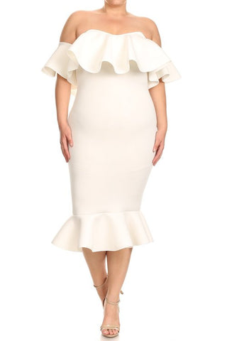 Final Sale Plus Size Off the Shoulder Ruffle BodyCon Dress in Ivory