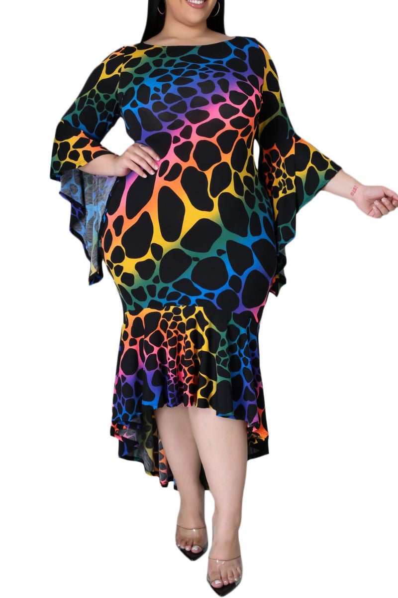 Final Sale Plus Size Trumpet Dress in Multi-Color Print