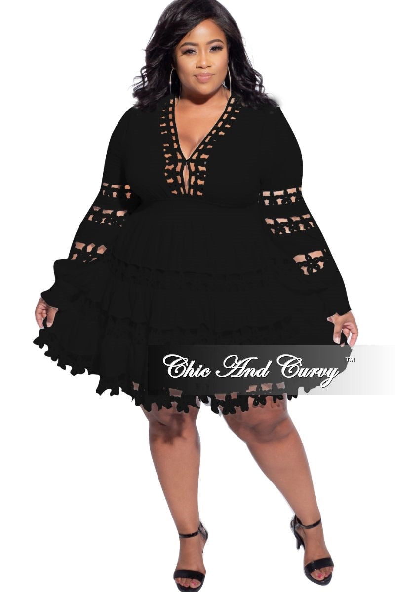 Final Sale Plus Size Crocheted Lace BabyDoll Dress in Black