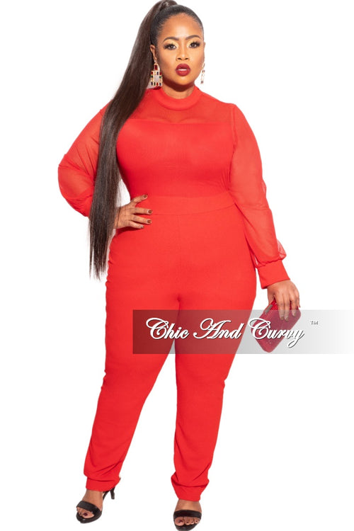 Final Sale Plus Size Jumper with Mesh top In Red