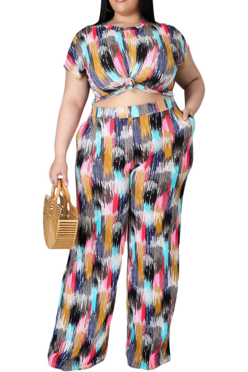 *Final Sale Plus Size 2-Pc Set with Crop Top & Pants in Multi-Color Print