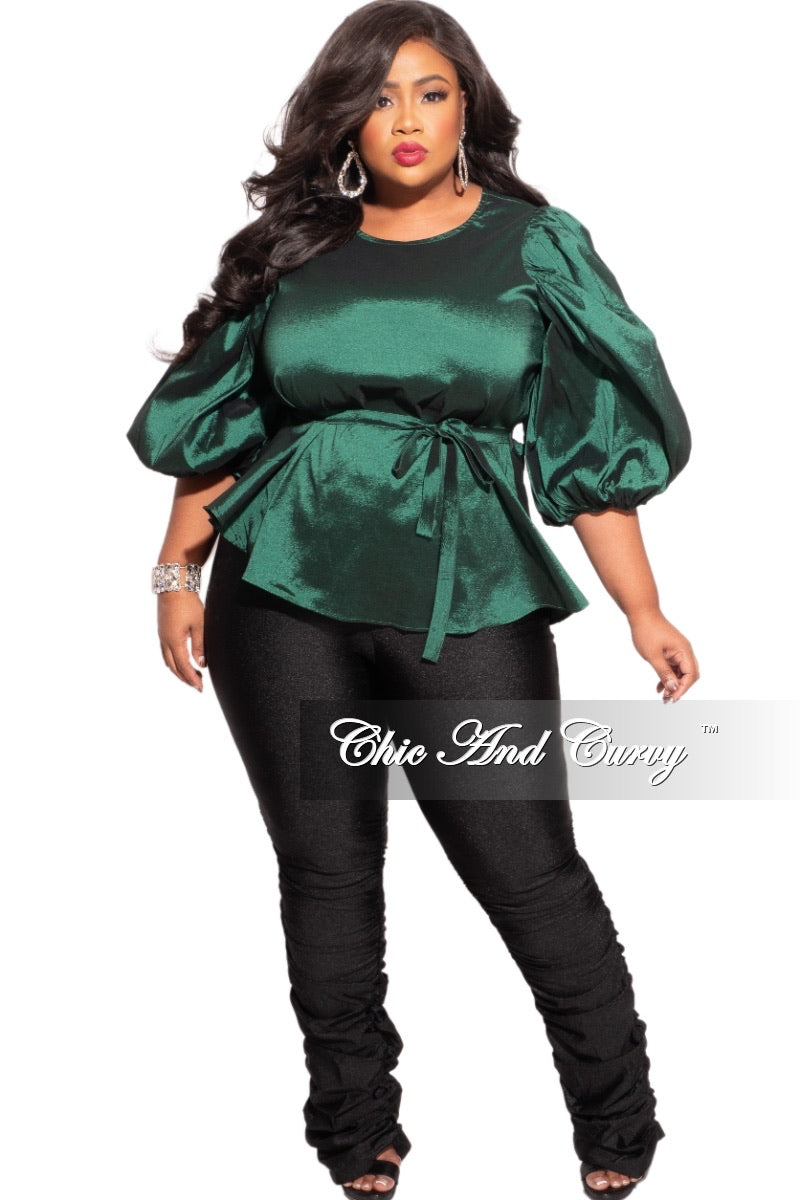 Final Sale Plus Size Balloon Sleeve Shimmer Top with Tie in Green