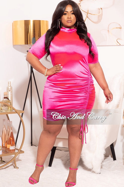 Final Sale Plus Size Bodycon Mini Dress in Fuchsia