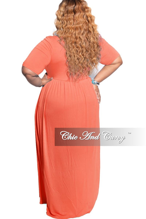 New Plus Size Pocket Maxi Dress in Ash Copper