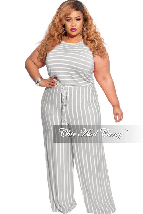 New Plus Size Sleeveless Pocket Tie Jumpsuit in Grey with Ivory Stripes