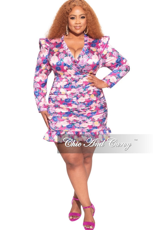 *Final Sale Plus Size Stretched Satin Mini Ruched Dress in Floral Print