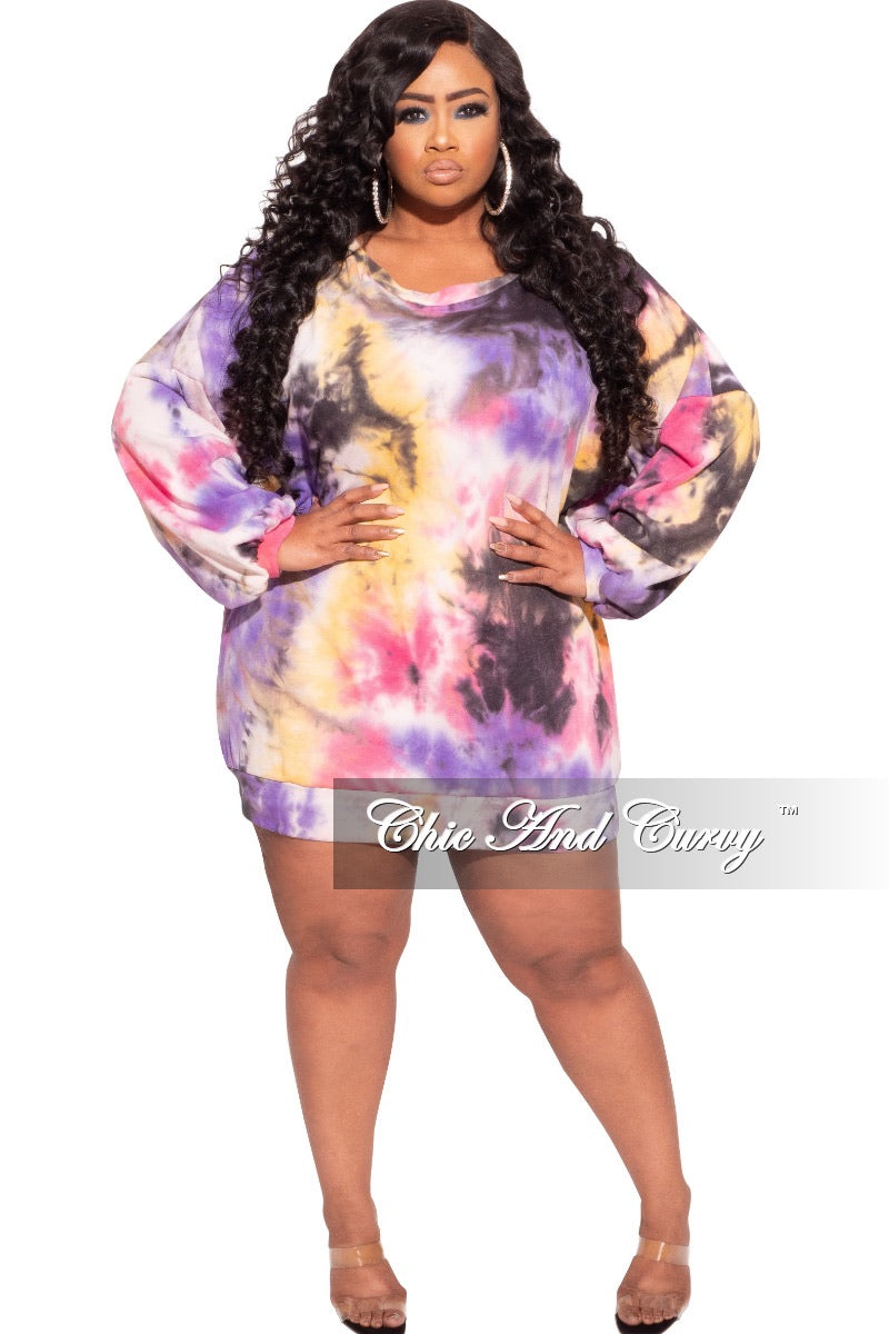 Final Sale Plus Size Jogger Dress in Tie Dye