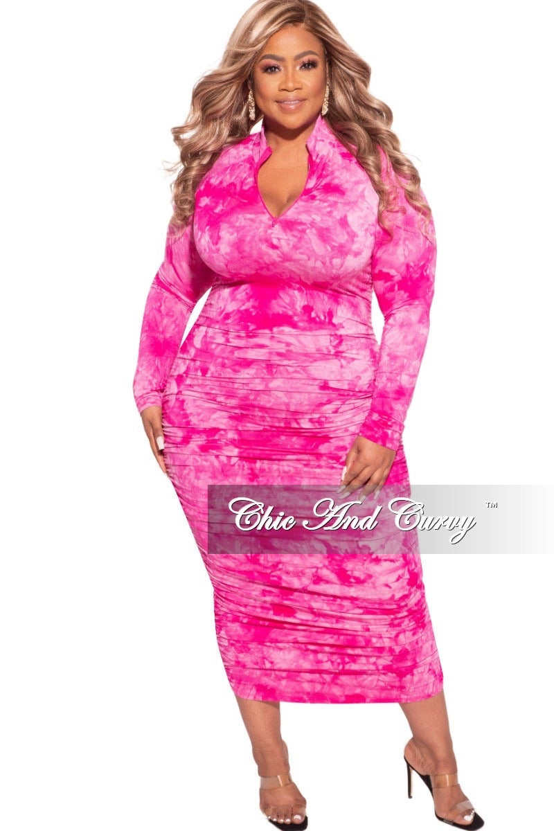 Final Sale Plus Size Ruched Sides BodyCon Midi Dress in Fuchsia Cloud Print