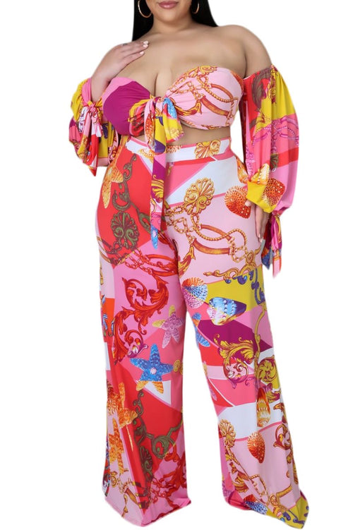 Final Sale Plus Size 2-Pc Off the Shoulder Bow Top and Pants Set in Pink Paisley Print