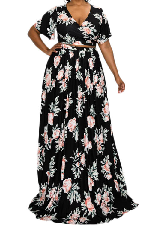 Final Sale Plus Size 2pc Cropped Tie Top and Skirt Set in Black Floral Print