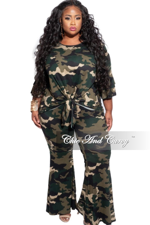 New Plus Size 2-Piece Set with Knotted Top & Bell Pants in Camouflage