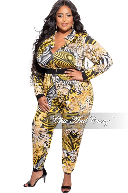 New Plus Size Zip Jumpsuit in Black Yellow White Design Print