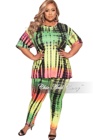 Final Sale Plus Size 2 pc Set Top & Pants in Purple / Mauve Multi-Color Print