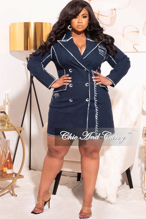 Final Sale Plus Size Denim Coat Dress with Chalk Detailing