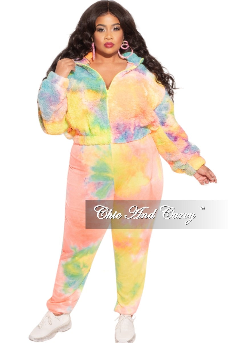 Final Sale Plus Size 2-Piece Set Fleece Jacket & Legging in Pastel Rainbow