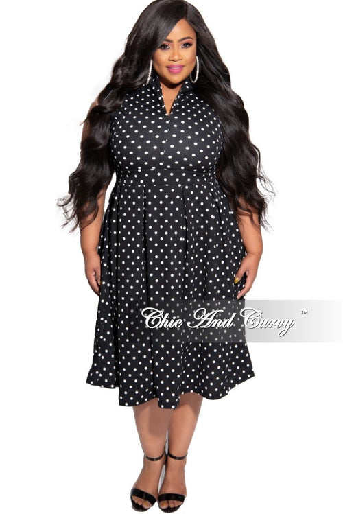 New Plus Size Sleeveless Flare Dress in Black and White Polka Dot Print