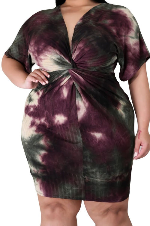 New Plus Size BodyCon Dress with Twisted Waistline in Burgundy Tie Dye