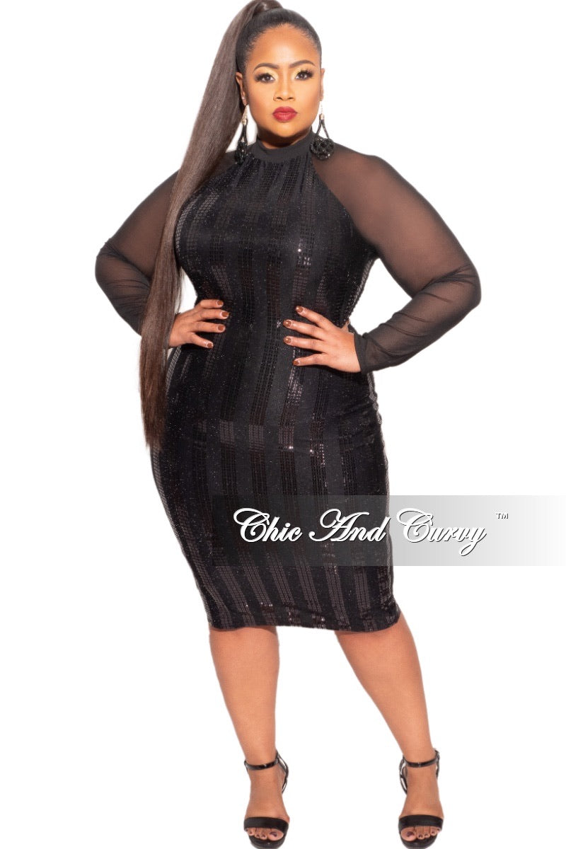 Final Sale Plus Size Sequin Dress with Mesh Arms & Shoulders in Black Dress