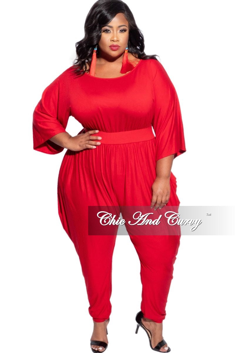 New Plus Size Jumpsuit with Harem Effect in Red