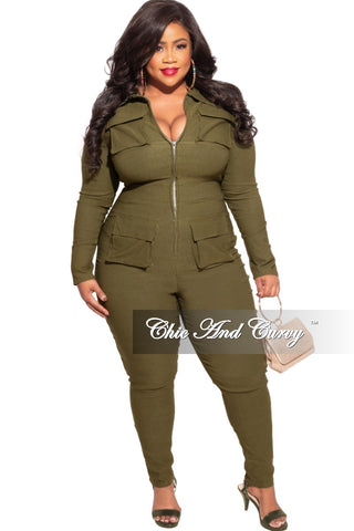 New Plus Size Ribbed Jumpsuit with Balloon Sleeves in Olive