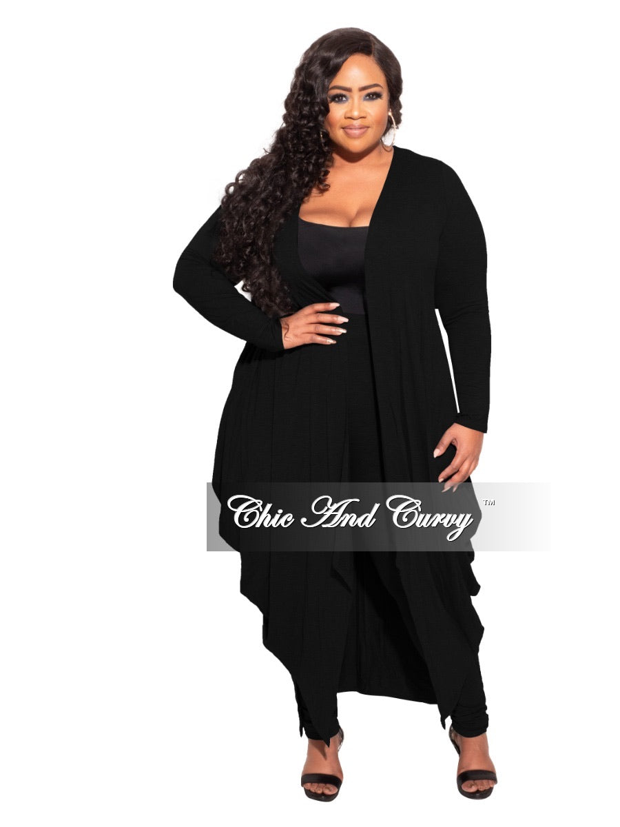 *Final Sale Plus Size 2-pc Set Duster and Leggings in Black