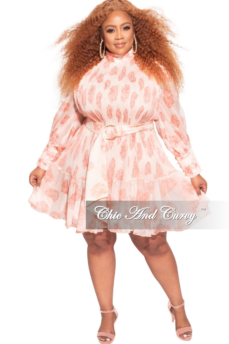 *Final Sale Plus Size Chiffon Belted BabyDoll Dress in Ivory & Rust