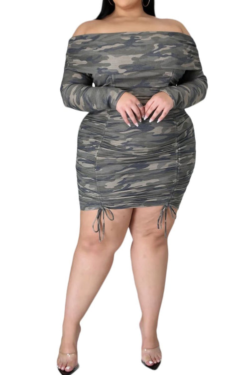 New Plus Size Off The Shoulder Dress in Camouflage