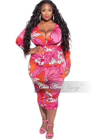 New Plus Size Tube Dress in Blue and Black Print