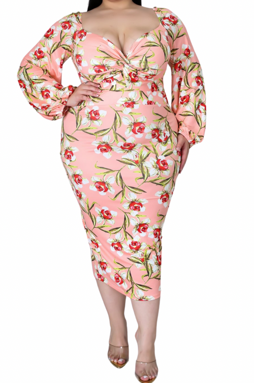 Final Sale Plus Size Final Sale Plus Size Off the Shoulder Sweetheart BodyCon Dress in Pink Floral Print