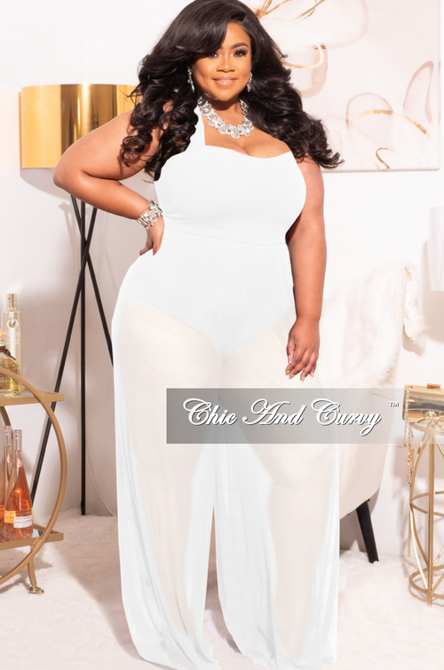 *Final Sale Plus Size Mesh Jumpsuit in White