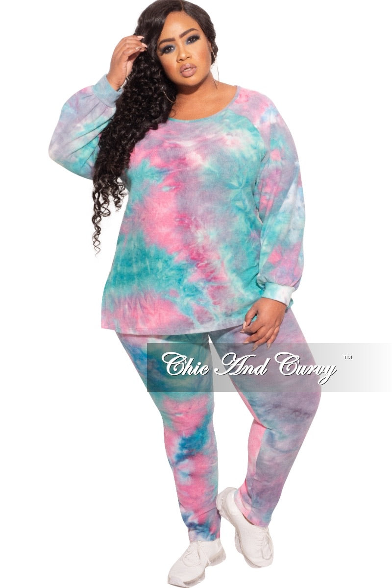 Final Sale Plus Size 2 pc Set in Pink and Blue Tie Dye