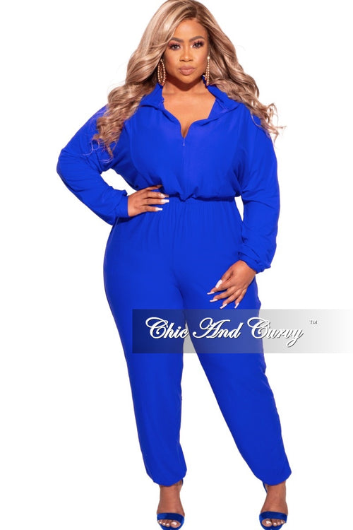 Final Sale Plus Size Parachute Jumpsuit in Royal Blue