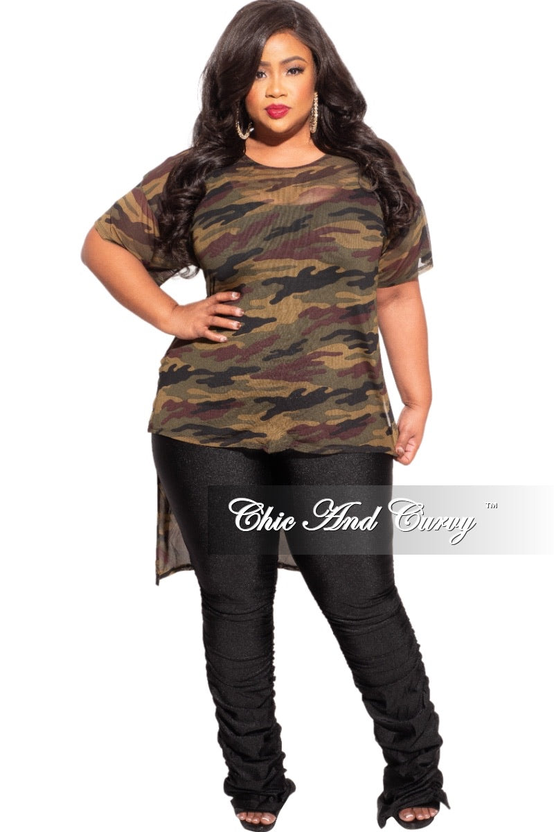 Final Sale Plus Size Mesh Top in Camouflage