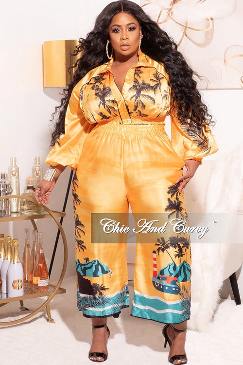 Final Sale Plus Size 2pc Satin Set with Crop Top and Culottes Pants in Mustard Palm Print