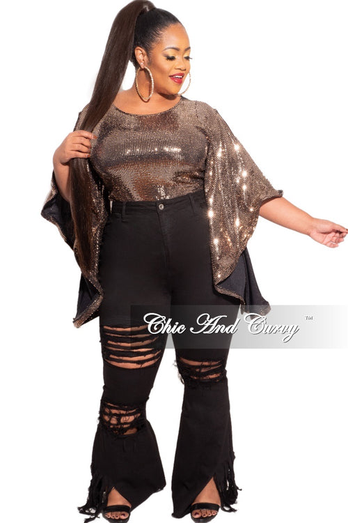 Final Sale Plus Size Faux Sequin Bell Sleeve Top in Gold