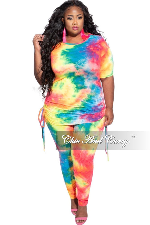 New Plus Size 2-Piece Set Side Ruching Top & Pants in Rainbow Tie Dye Print