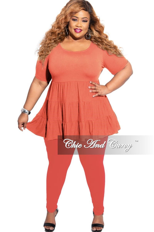 New Plus Size 2-Piece Short Sleeve 3 Tiered Baby Doll Top and Leggings Set in Copper