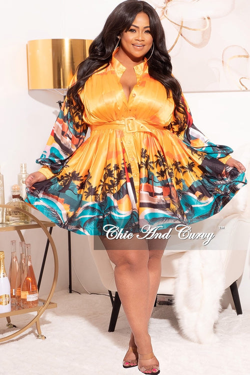 *Final Sale Plus Size BabyDoll Dress in Satin Dress in Mustard Palm Print