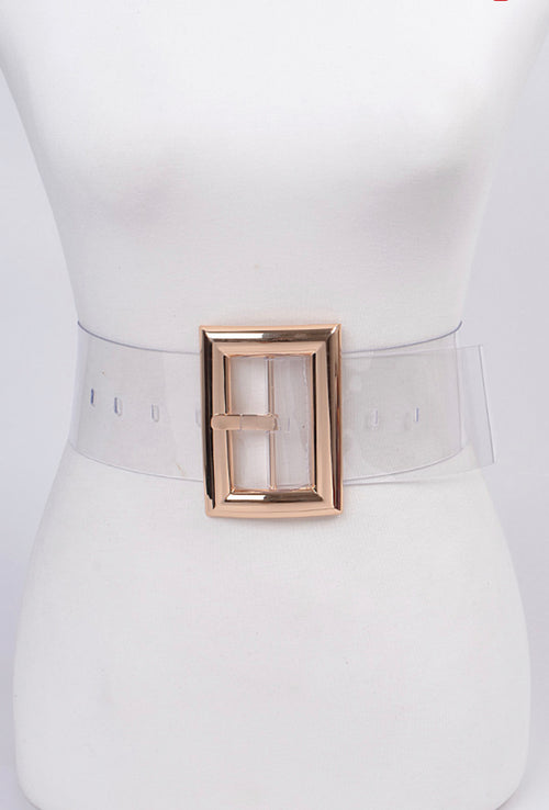 Final Sale Plus Size Clear Waist Belt with Gold or Silver Buckle