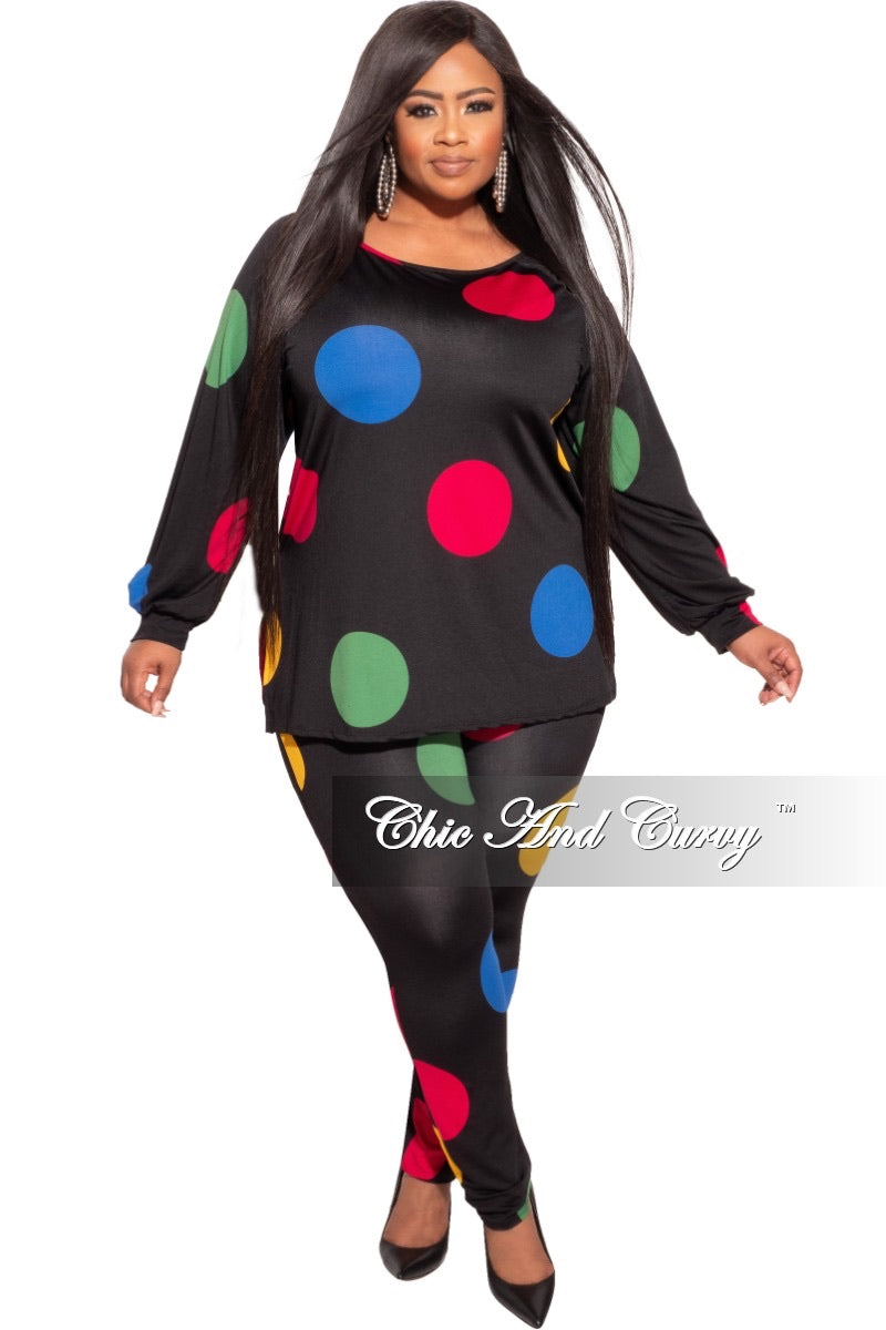 *Final Sale Plus Size 2-pc Set in Multi-Color Polka Dots